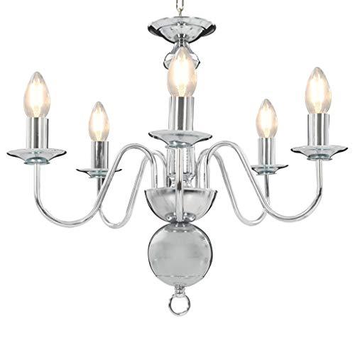 vidaXL Kroonluchter 5xE14 Zilverkleurig Verlichting Plafondlamp Licht Lampen