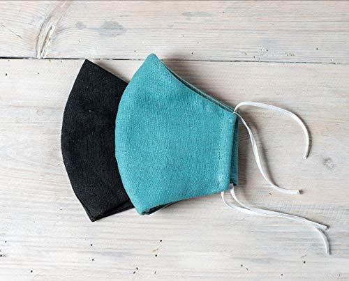 2 Maske Mundschutz Leinen 3 Schichten Waschbare- 8 klassische Farben Auch für einen klassischen Anzug geeignet - Handgefertigt in Europa