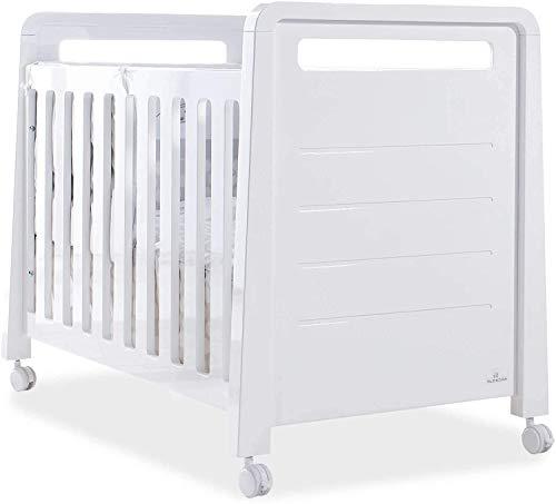 ALONDRA - Cuna bebe blanca pino macizo y mdf, lacada blanco brillo 120x60, de gran grosor, somier lamas y 2 posiciones.