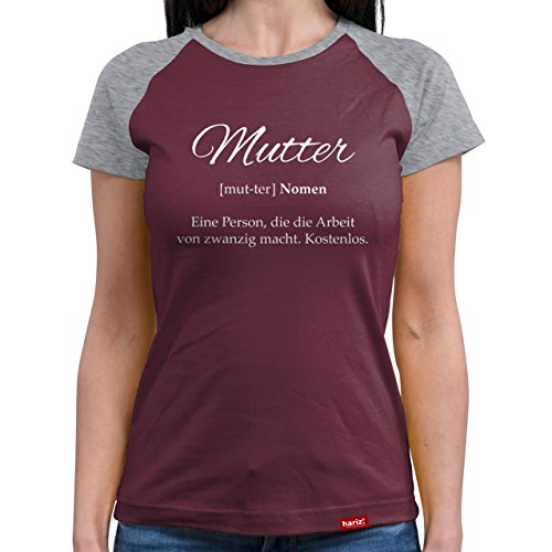 Hariz Madre Definition//Camiseta original de béisbol para mujer – 9 colores, S – XXL//tarjetas de regalo gratis, Navidad, Día de la Madre, regalo # Mama Collection Burgundy / Grey Melange S