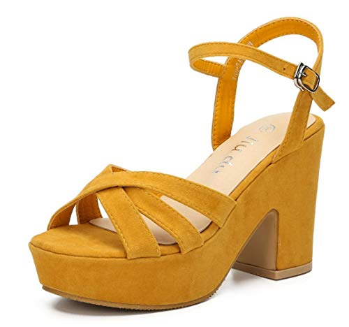 Women's Platform Heels Sandals Ankle Strap Block Chunky Heel Velvet Peep Toe Fashion Dress Wedding High Heeled Wedges Pumps yellow Velvet Size 10.5
