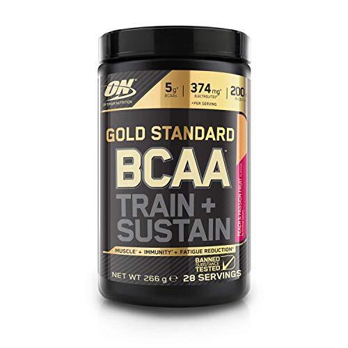 Optimum Nutrition Gold Standard BCAA Pulver, Aminosäuren Komplex Hochdosiert mit Vitamin C, Zink und Magnesium, Elektrolyte Getränk, Peach & Passionfruit, 28 Portionen, 266g, Verpackung kann Variieren