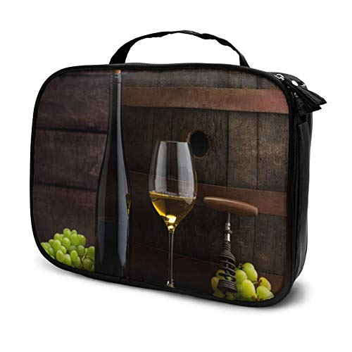 "Wine Bottles And Glasses Cosmetic Bag Large Capacity Toiletry Bag for Women Portable Travel Square Makeup Bag The best gift for women(9.8""x 3.15""x 7.5"")"