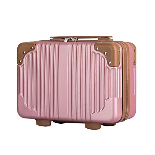 Lzttyee 14in Hard Shell Cosmetic Carrying Case Portable Travel Hand Luggage Suitcase (Rose gold)