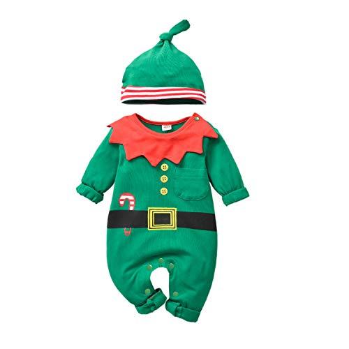 T TALENTBABY - Disfraz de Papá Noel para bebé, niña, niña, niña, niño, Navidad, disfraz de Papá Noel, Elf, con cinturón, pelele + gorro de rayas, para bebé, Navidad, vestido Up Verde y rojo, 0-3 meses