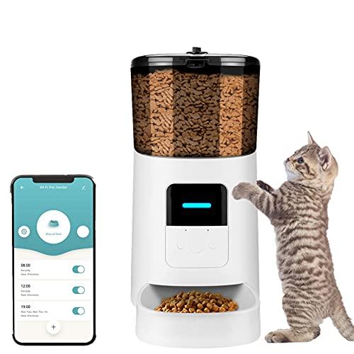 Comedero automático para Perros y Gatos, 6L Prevenir la Obstrucción Alimentador automático con Temporizador, Control De La App Grabación de Sonido Dispensador de Comida Automático