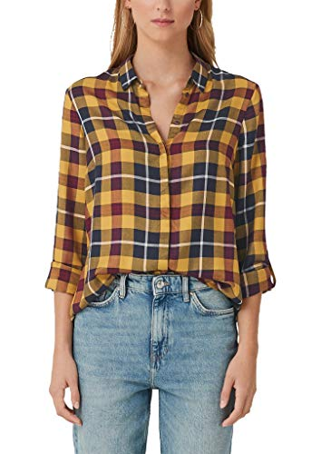 s.Oliver RED Label Damen Flanellbluse mit Karomuster Yellow Check 38