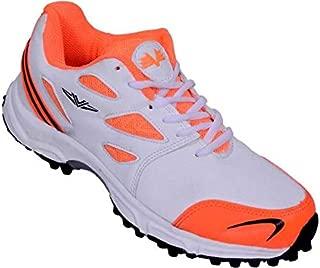 Vijayanti Sports Cricket Shoes for Men (White Orange)