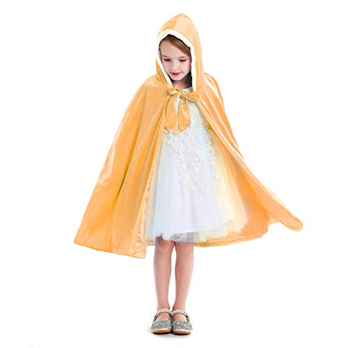 Luzlen Girls Princess Cloak Hooded Cape Full Length Costume Party Cosplay Dress Up 3-10 Years, Yellow, L