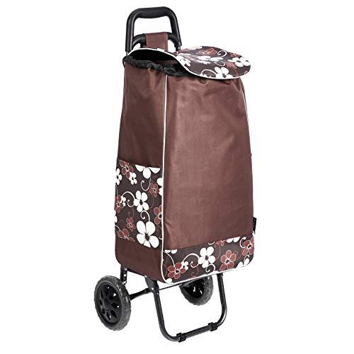 Amazon Basics Chariot de courses à 2 roulettes, 40litres, fleurs marron