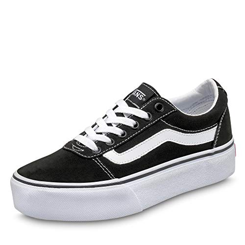 Vans Ward Platform Canvas Zapatillas Mujer, Negro (Canvas) Black/White 187), 42.5 EU (8.5 UK)