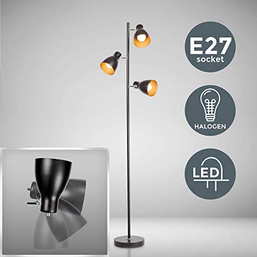 B.K Licht lampadaire LED vintage, lampe à pied design rétro, 3 spots orientables, ampoules E27 LED ou halogène, hauteur 166,5 cm, métal noir doré