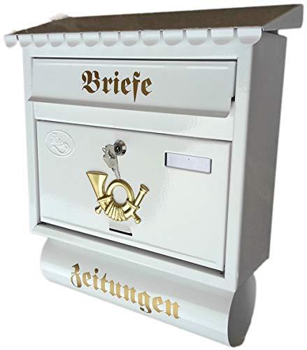 R&D Stabiler Briefkasten Flachdach Katalogeinwurf, Premium-Qualität, mit Schutzlackierung Verschiedene Modelle XXL Weiß mit Zeitungsrolle fertig montiert Postkasten Post (Flachdach)