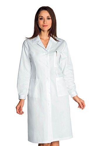 Isacco blouse voor dames, wit, M, 100% satijn, lange mouwen, knoppen, met oogjes, wit