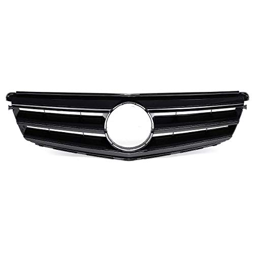Mayz Rejilla delantera para Mercedes para Benz Clase C W204 C180 C200 C300 C350 2008-2014 parachoques delantero del coche Parrilla cubierta superior (color: plata) (negro brillante)