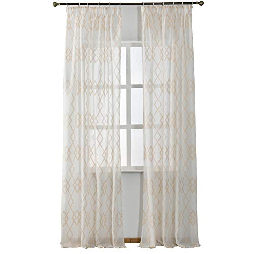 NAPEARL Faux Linen Semi-Sheer Curtain Panel Set of 2 Pieces (52' Wx108 L, Cream)