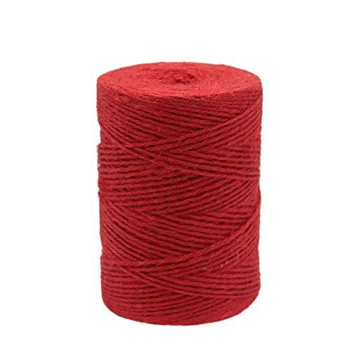 Vivifying 200M Gartenschnur, 2 mm Jute Bindfäden für Floristik, Bündeln, Basteln (Rot)