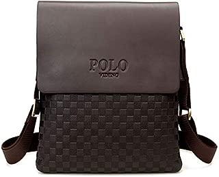 High Grade Genuine leather Men's messenger bag, Classic design Plaid cross body Business bag- Brown