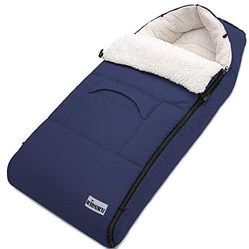 KIDUKU Winterfußsack für Kinderwagen Buggy - Babyfußsack waschbar   Fußsack Babyschale mit Reißverschluss & Tasche