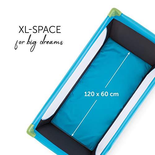Hauck Kinderreisebett Dream N Play / inklusive Einlageboden und Tasche / 120 x 60cm / ab Geburt / tragbar und faltbar, Wasser (Blau) - 5