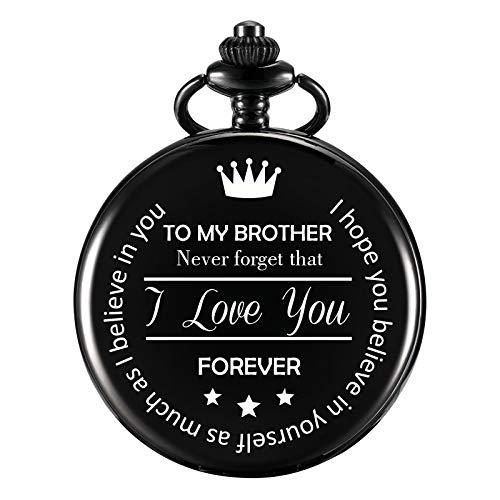 Morfong Bruder Montre de Poche pour Homme Cadeau d'anniversaire Gravure Cadeau Noir