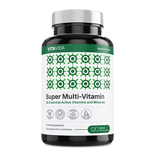 Multivitamins & Minerals - Vegan Multivitamin Tablets for Men and Women with 26 Essential Active Vitamins & Minerals - Made in The UK by Vita Vida