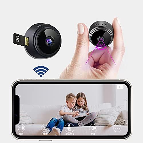Mini fotocamera, 4K 1080P, mini telecamera di sorveglianza micro WiFi, batteria piccola con visione notturna a infrarossi e scheda SD 32 G, wireless, micro Nanny Cam e per interni ed esterni
