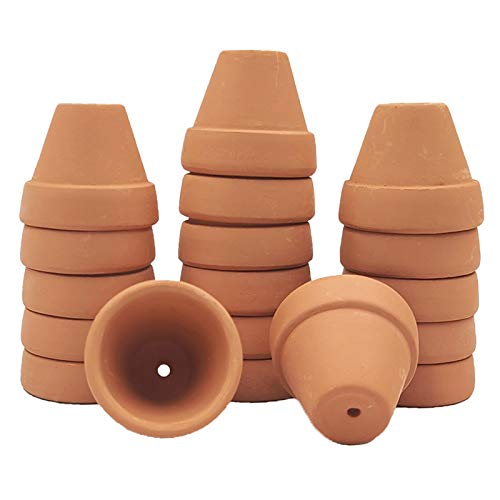 YISHANG Mini Terracotta Pots with Drainage Holes - 1.2 inches Succulent Cactus Nursery Planter,Tiny Clay Nursery Pots for Indoor/Outdoor Mini Plant, DIY Crafts, Wedding Favors(18 Pack)