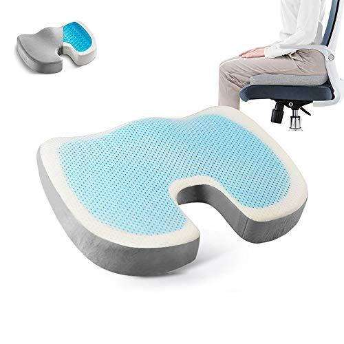Frobukio - Cojín de gel para asiento de coche (espuma viscoelástica, cojín ortopédico, para silla de oficina, coche, coxis, alivio de espalda, cadera, coxis, dolor de ciática (blanco, talla única)