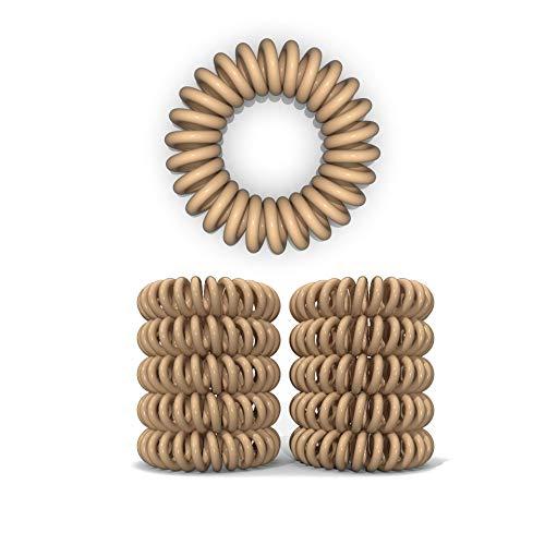 10er Set Spiral Haargummi - Haargummis für weniger Spliss und gebrochene Haare - Haargummi Spirale für feine Haarpartien - Telefonkabel Spiralhaargummi, Beige/Hautfarbe, 3.5 cm