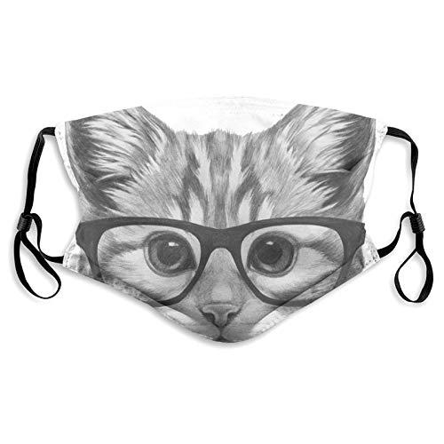 Funda facial reutilizable lavable y transpirable, unisex, para motocicleta, bicicleta, correr y deportes al aire libre, con filtro, dibujo original de gato con gafas