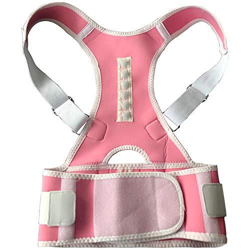 ANGOU Magnetic Belt for Back Shoulder Band Belt Support Brace Scoliosis Posture Corrector Belt Corset Plus Size Pain Relief Men-Pink_XXL
