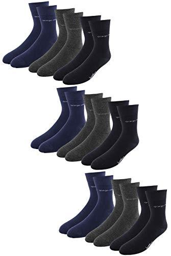Giorgio Capone Premium bamboe sokken, pak van 9 stuks, super zacht, hoog draagcomfort, antraciet, donkerblauw, zwart: 39-42, 43-46