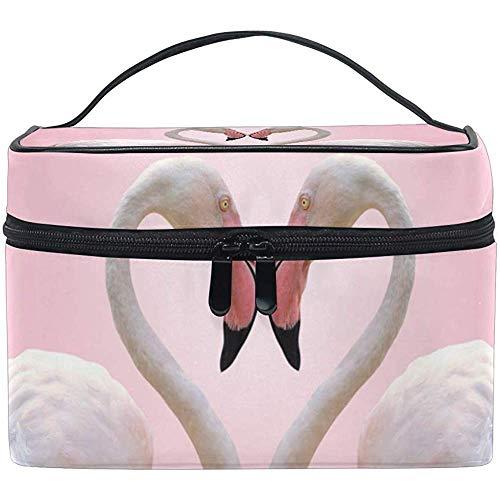Sac Cosmétique Coeur De Couple Flamingo Multifonction Maquillage Voyage Trousse De Toilette Organisateur Cas Avec Fermeture Éclair