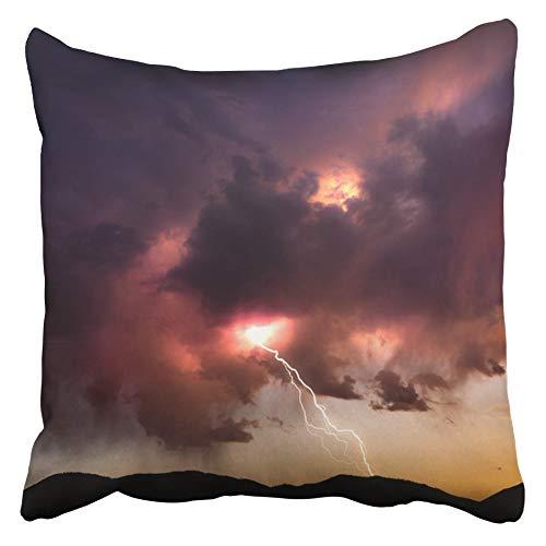 AEMAPE Fundas de cojín Perno de iluminación del Cielo Que golpea Desde Las Nubes de Colores al Atardecer en el Desierto de Nevada Relámpago tormentoso Funda de cojín de 40 x 40 cm