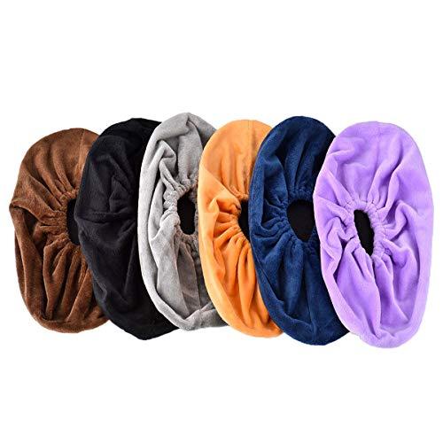 Queta 6 pares Cubiertas de zapatos lavables franela sobre zapatillas Cubrecalzados reutilizables Cubiertas zapatillas reutilizables franela Cubrecalzados