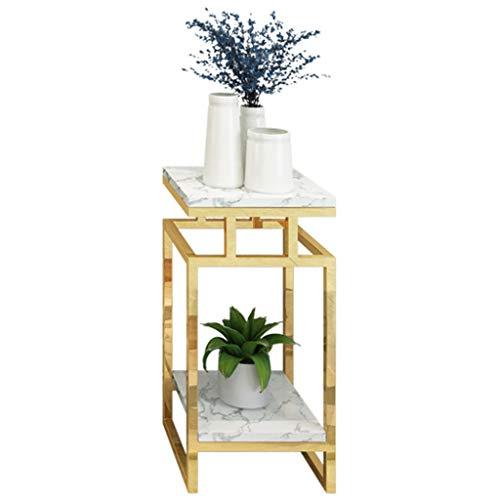 GYX-Pflanzenregale 2 Tier Metall Blumenständer Pflanzenständer Lagerregal Regal, Blumentopf Halter Indoor Outdoor, Gold