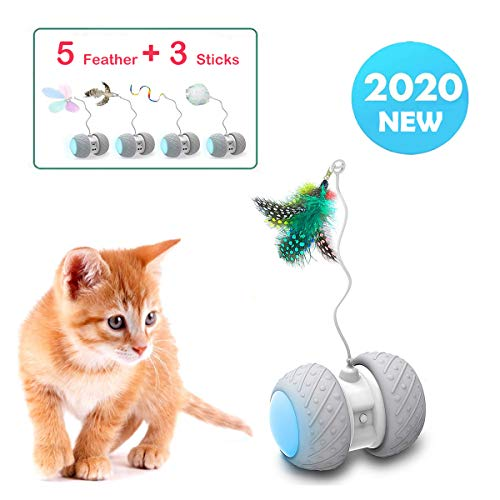 Yvelife Robotic Interactive Cat Feather Toys for Indoor Cats,Automatic Moving Cat Toys with Large Capacity Battery,Cat Mice/Ball/Wand Toys for Kitten/Cats