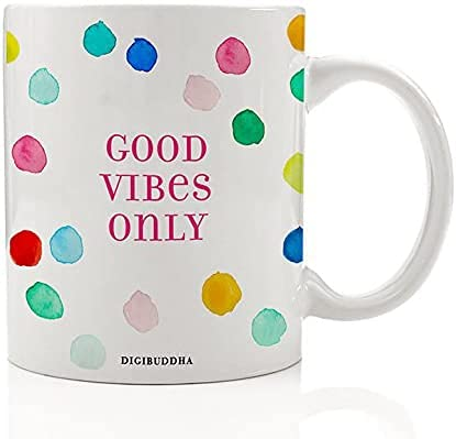Good Vibes Only - Taza de café con texto en inglés 'Good Vibes', diseño de lunares, color azul y blanco