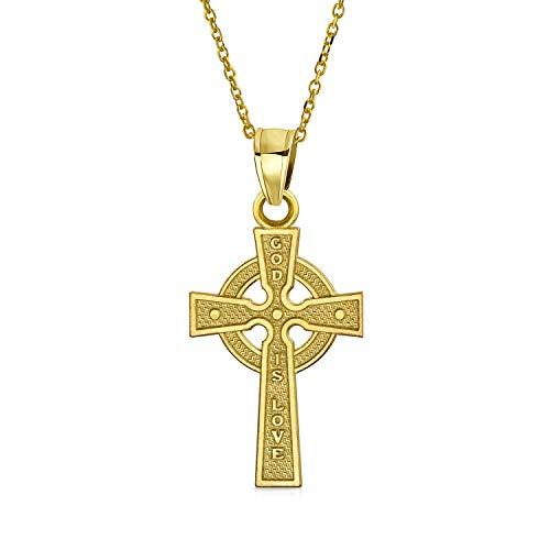 Solido 14K Giallo Oro Vero Dio È Amore Celtico Irlandesi Viking Croce Religiosa Collana Pendente Donne Uomini 18 Catena'