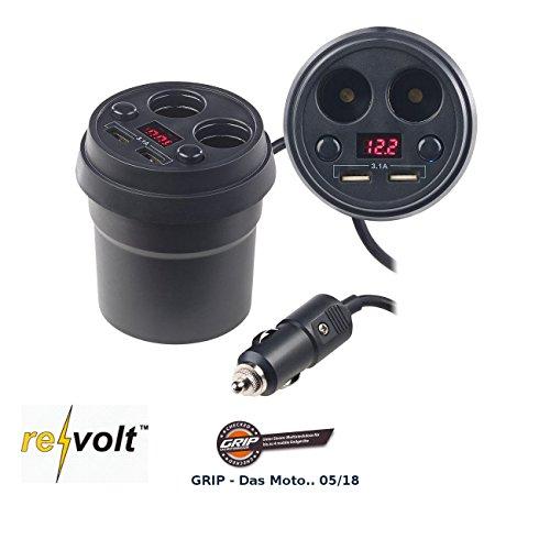 reVolt USB Hub Kfz: 4-Fach-Kfz-Verteiler mit je 2X 12-/24-V- & USB-Port (3,1 A), 80 Watt (Zigarettenanzünder Verteiler)