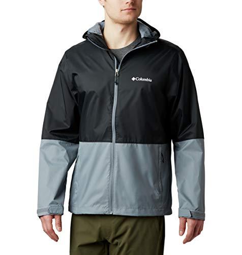 Columbia Men's Standard Roan Mountain Rain Jacket, Black, Grey Ash, Large