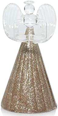Yankee Candle Glittering Gold Glass Angel Tea Light Holders - Set of 2 (One Small and One Large)