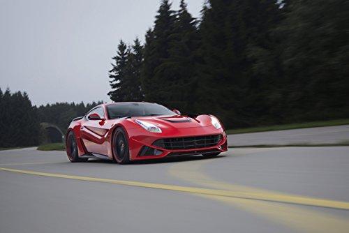 """Novitec N-Largo based on Ferrari F12berlinetta (2013) Car Art Poster Print on 10 mil Archival Satin Paper Red Front Side Motion View 36""""x24"""""""