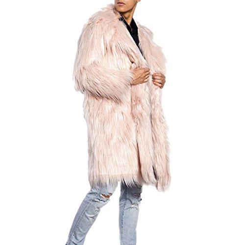 AKAUFENG Pelzmantel Lang Kunst Felljacke Herren 4 Farbe Wind Coat Winterjacke Mantel Kunstpelz Lange Jacke Faux Fur