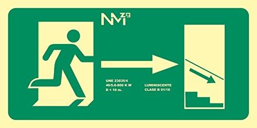 Normaluz RD11140 - Señal Luminiscente Salida Escalera Derecha Abajo Clase B PVC 0,7mm 32x16cm con CTE, RIPCI y Apto para la Nueva Legislación