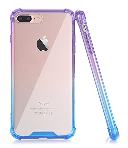 BAISRKE Clear Case for iPhone 7 Plus, Slim Shock Absorption Protective Case Soft TPU Bumper & Hard Plastic Back Cover Phone Cases for iPhone 7 Plus / 8 Plus 5.5 inch - Blue Purple Gradient