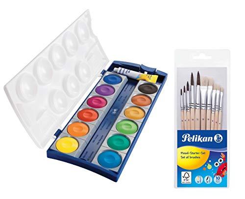 Pelikan 720250 Deckfarbkasten K12, 12 Farben + 1 Tube Deckweiß, Schul-Standard (Deckfarbkasten & 10tlg. Pinselset)