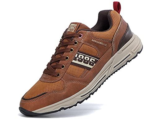 AX BOXING Zapatillas Hombres Zapatos para Sneakers Deportivas Running Correr Gimnasio Transpirables Casual 41-46 (43 EU, Marrón)