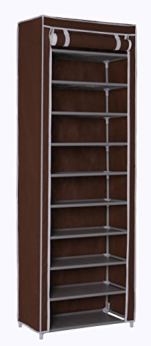 HOMEFORT 10-Tier Shoe Rack 30 Pairs Shoe Tower Closet Shoes Storage Cabinet Portable Boot Organizer with Dustproof Non-Woven Fabric Cover and 10 Durable Shelves